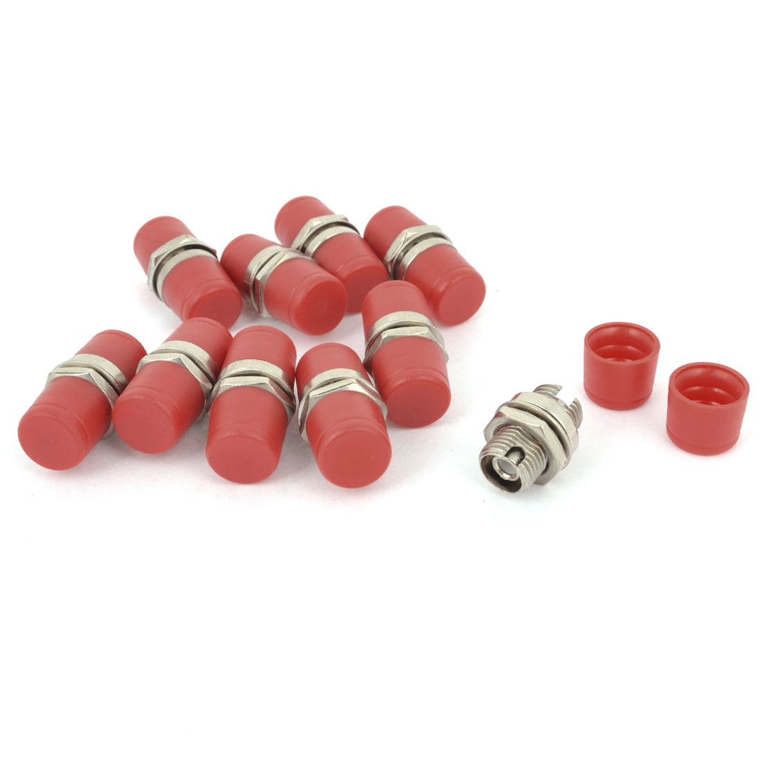 10 Pcs Red Cover Flange Type FC Female Fiber Optic Adapter Connectors