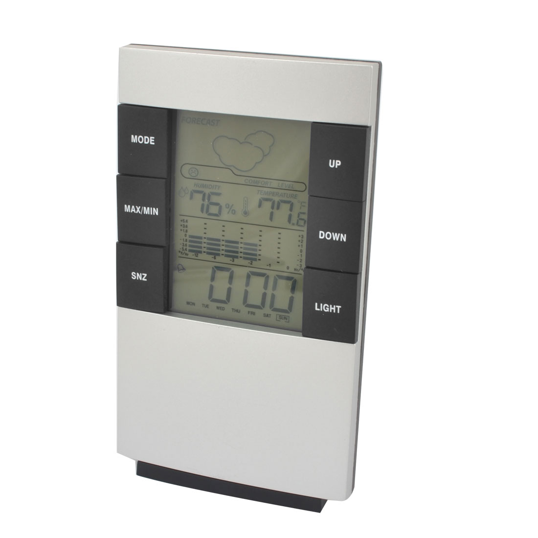 Multifunction Digital LCD Projection Clock Alarm Calendar Weather Forecast Station Humidity Silver Tone Black