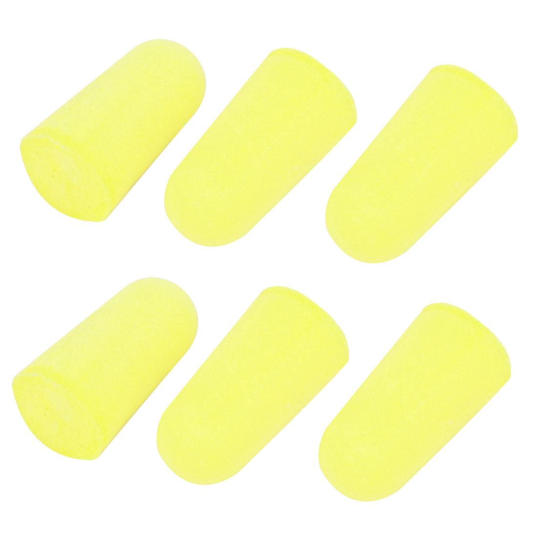 6 Pcs Foam Rebound Type Travel Earplugs Ear Protector Yellow