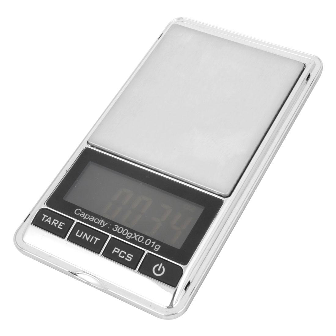 Handheld Portable Pocket Digital Scale 300gx0.01g Black Silver Tone w Cover