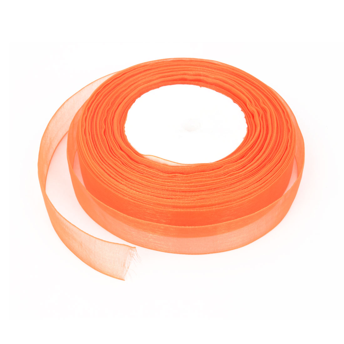 "50 Yard 0.8"" Width Gift Wrapping DIY Craft Wedding Decor Stain Edge Slim Sheer Organza Ribbon Roll Tape Orange"