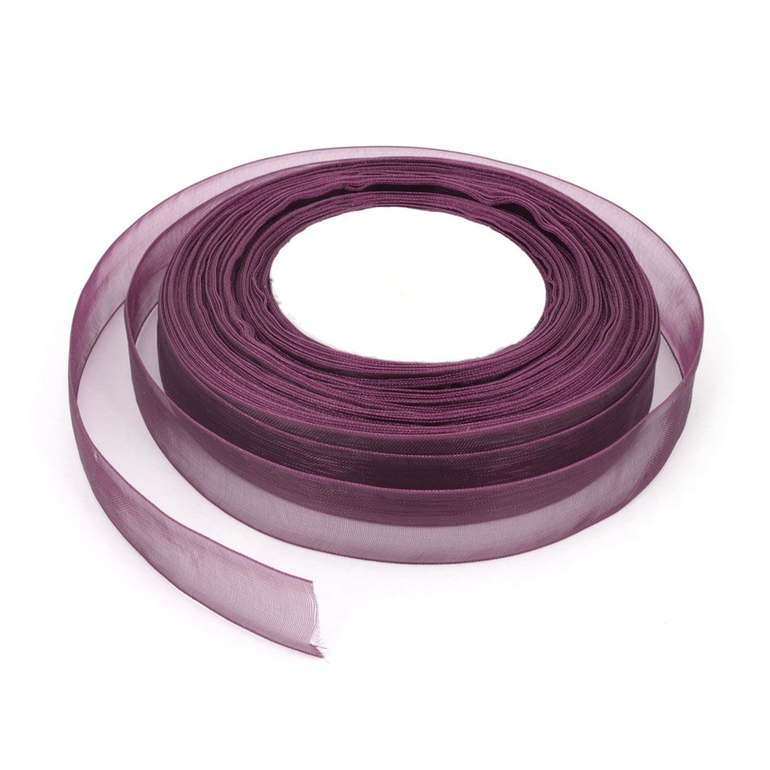 Gift Wrapping DIY Craft Festival Ornament Sheer Organza Ribbon Roll Tape Dark Purple 50 Yard 20mm