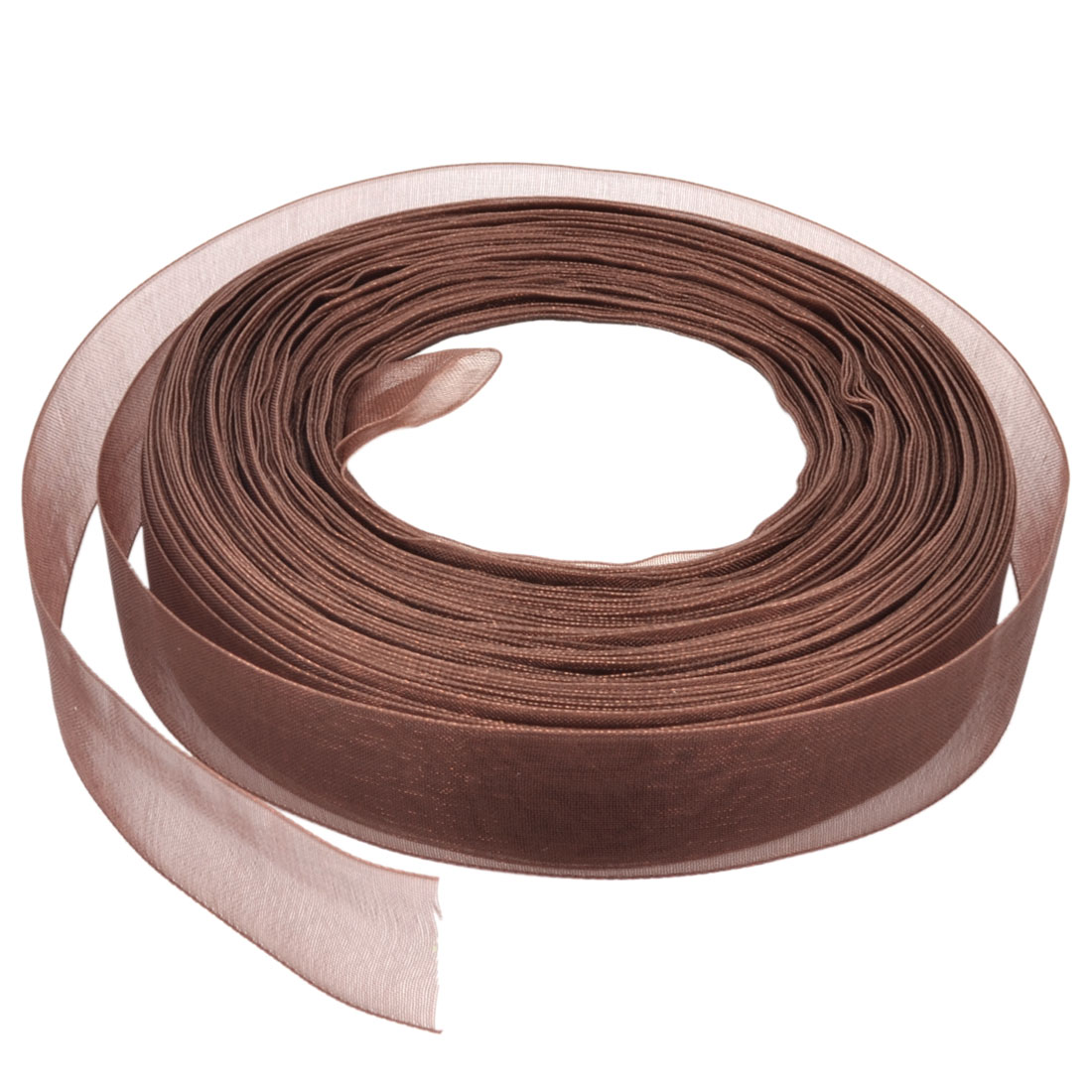 Gift Wrapping DIY Craft Festival Wedding Ornament 150 Ft 20mm Sheer Organza Ribbon Roll Tape Brown