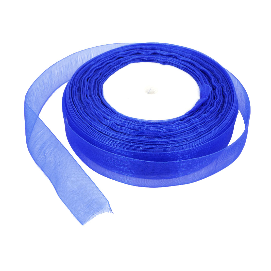 20mm x50 yard Stain Edge Sheer Organza Ribbon Roll Tape Royal Blue for Gift Wrapping DIY Craft Festival Ornament