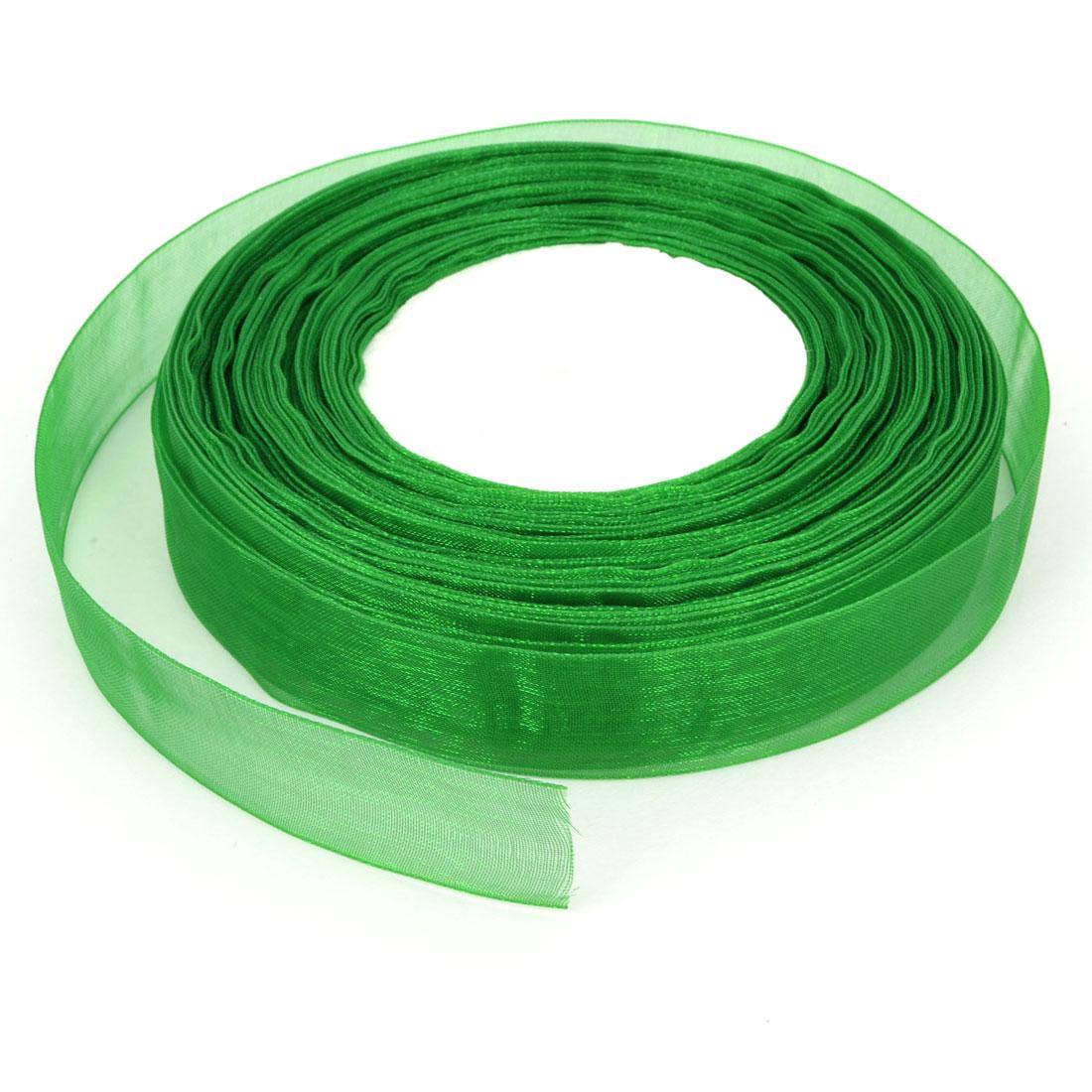Gift Wrapping DIY Craft Festival Bridal Decoration 50 yard 20mm Emerald Green Sheer Organza Ribbon Roll Tape