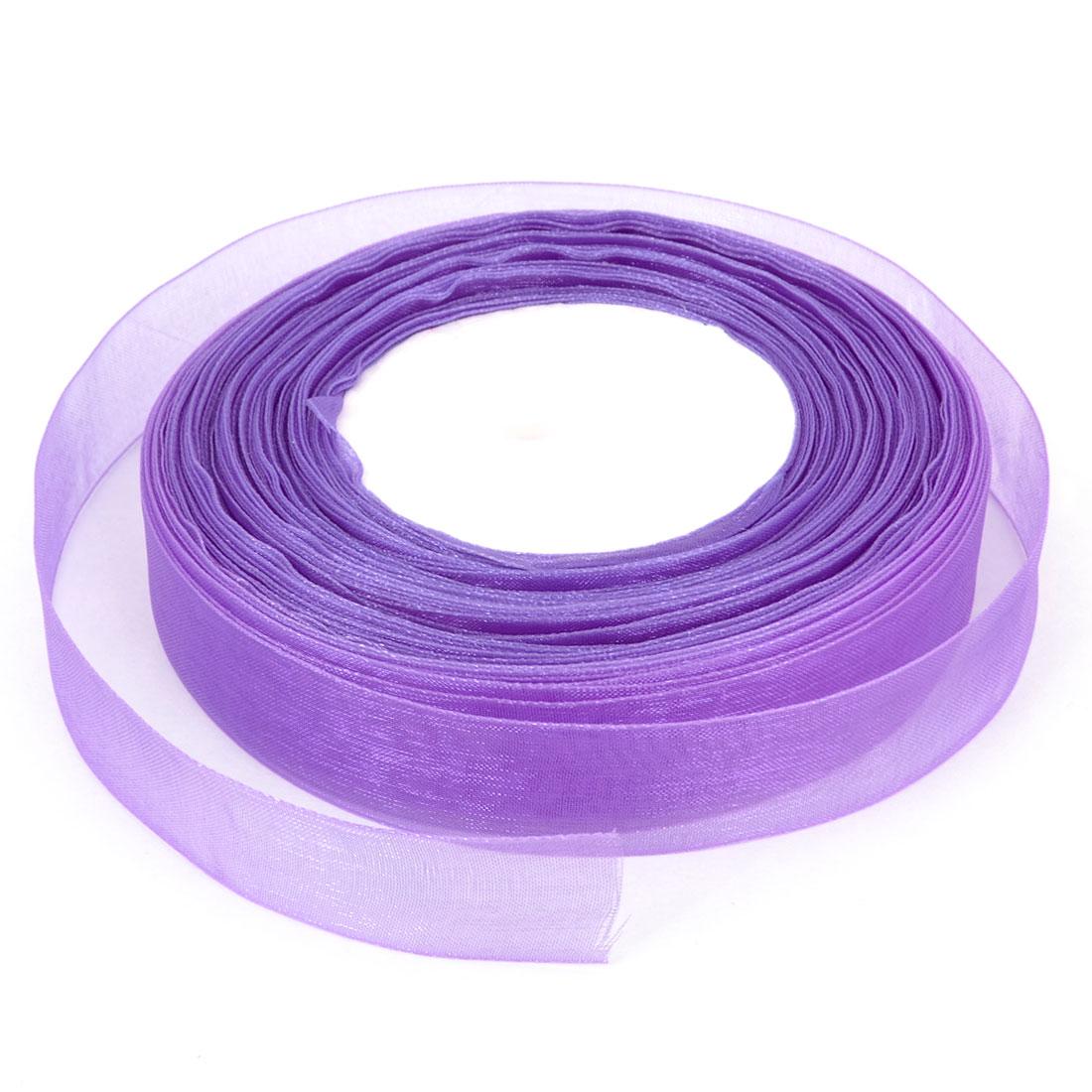 50 Yard 20mm Sheer Organza Ribbon Roll Tape Royal Purple for Gift Wrapping DIY Craft Bridal Detail