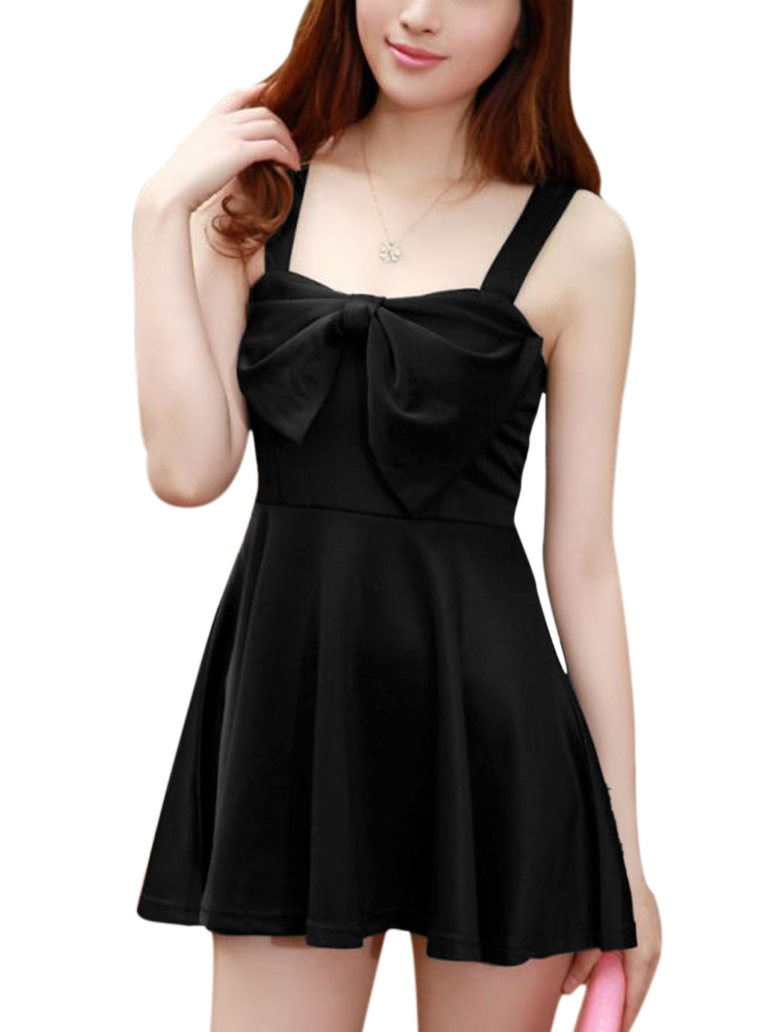 Women Shoulder Straps Bowknot Accent Front Stretchy Sexy Dress Black XS