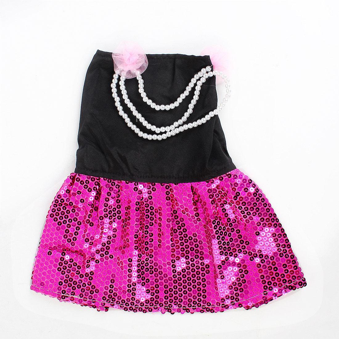 Round Beads Detail Press Stud Button Pet Dog Doggy Dress Skirt Black Fuchsia M