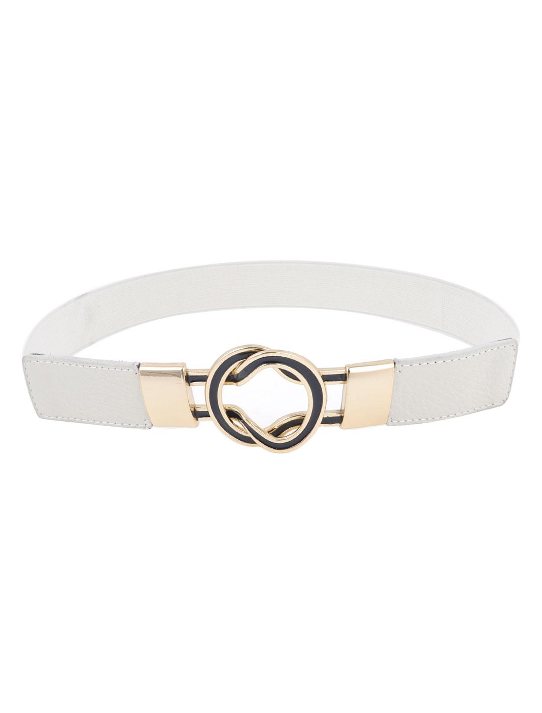 Women Round Shaped Interlocking Buckle Elastic Skirt Cinch Waist Belt White