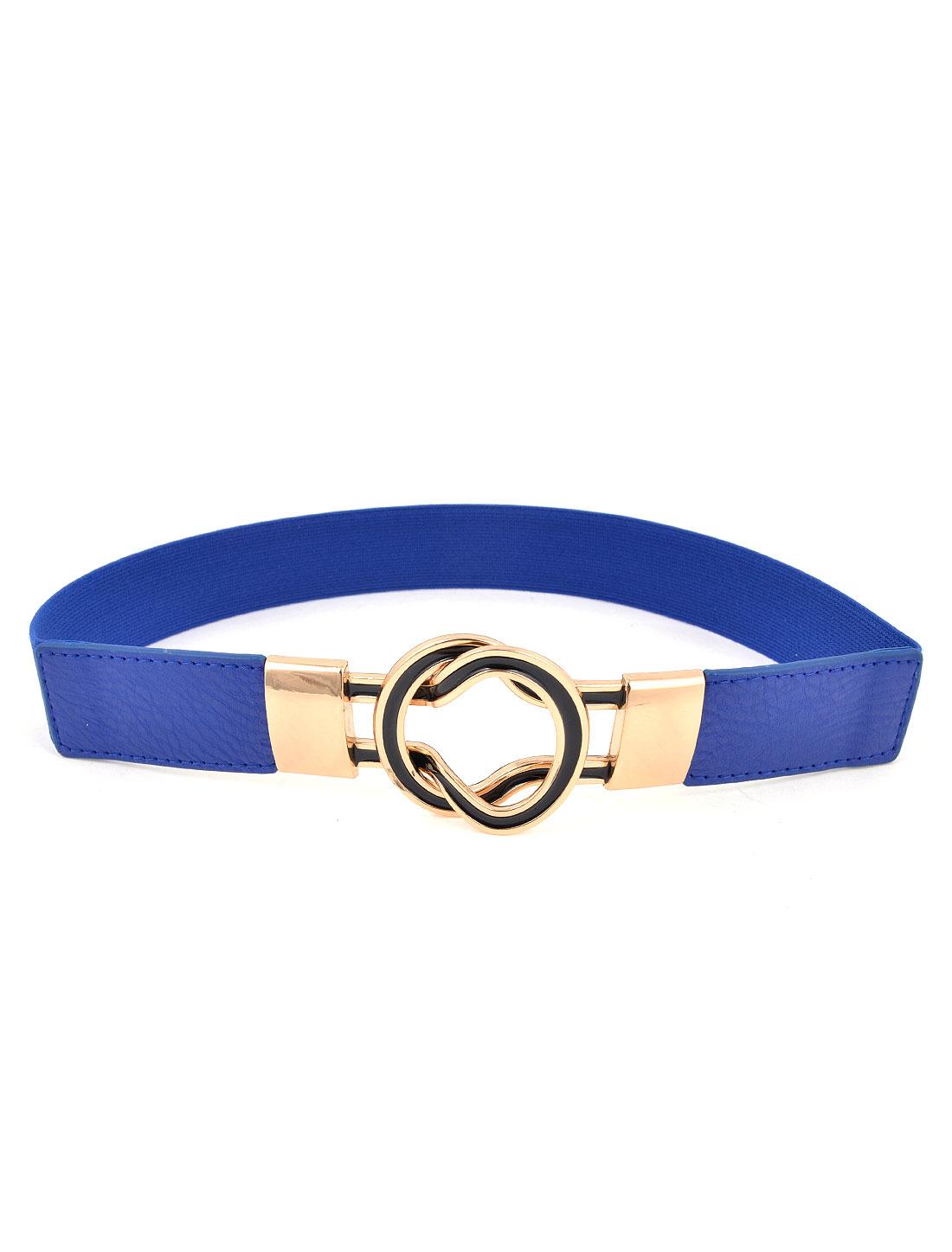Women Round Shaped Interlocking Buckle Elastic Skirt Cinch Waist Belt Blue