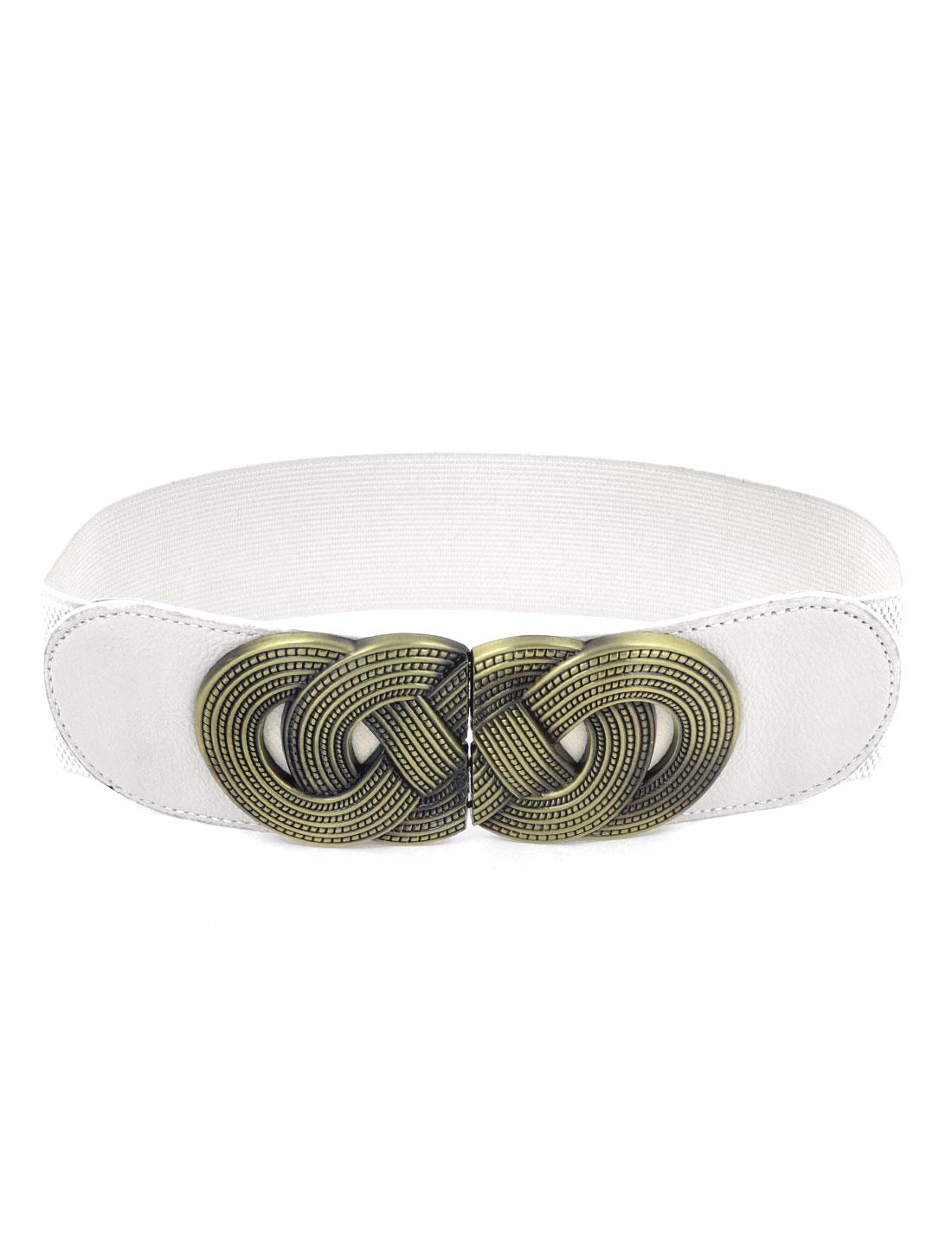 Women Metal Interlocking Buckle Textured Stretch Corset Cinch Belt Beige