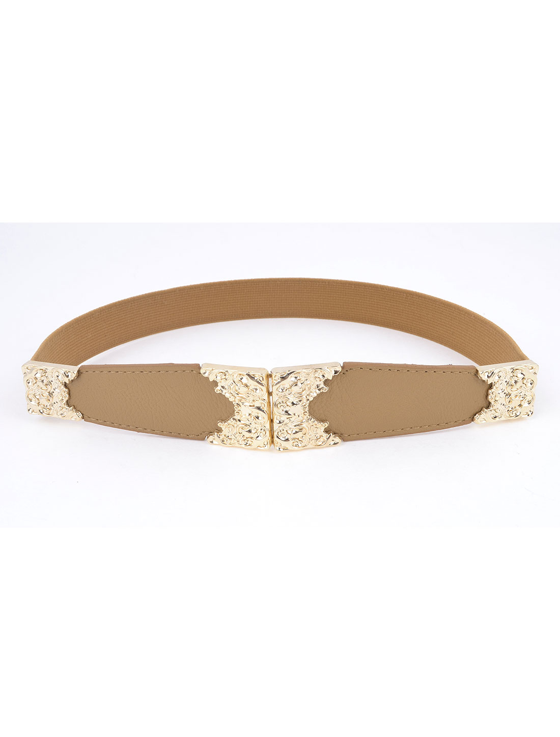 Women Graven Flower Decor Interlocking Buckle Cinch Waist Belt Brown
