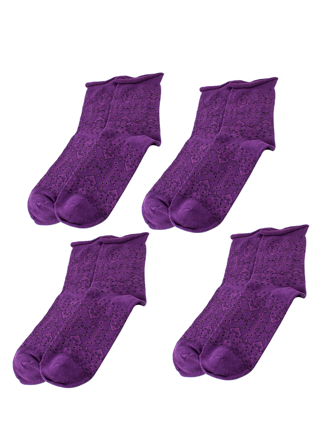 Woman Winter Fall Stretch Flower Pattern Crew Ankle High Sport Casual Socks Purple 4 Pairs