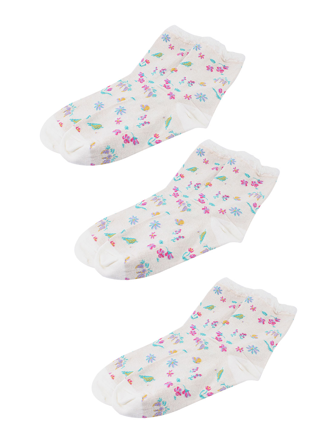 Woman Winter Fall Stretch Flower Bird Pattern Crew Ankle High Sport Casual Socks Light Gray 3 Pairs
