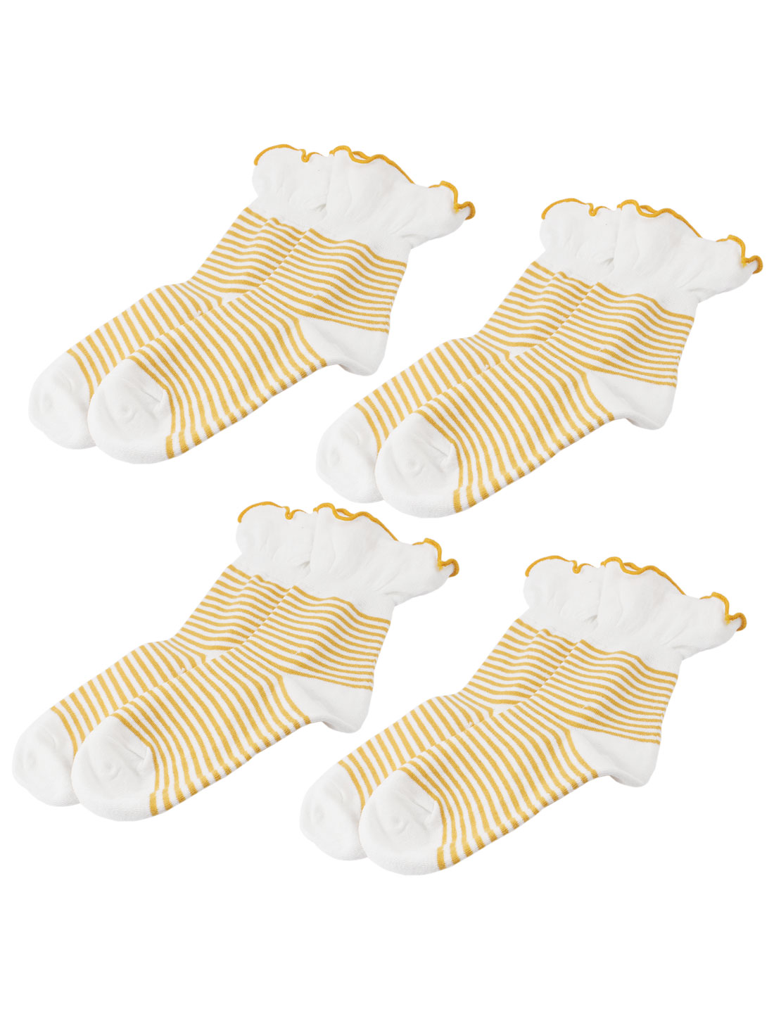 Woman Stripe Pattern Stretch Pleated Cuff Crew Ankle High Sport Casual Socks Yellow White 4 Pairs
