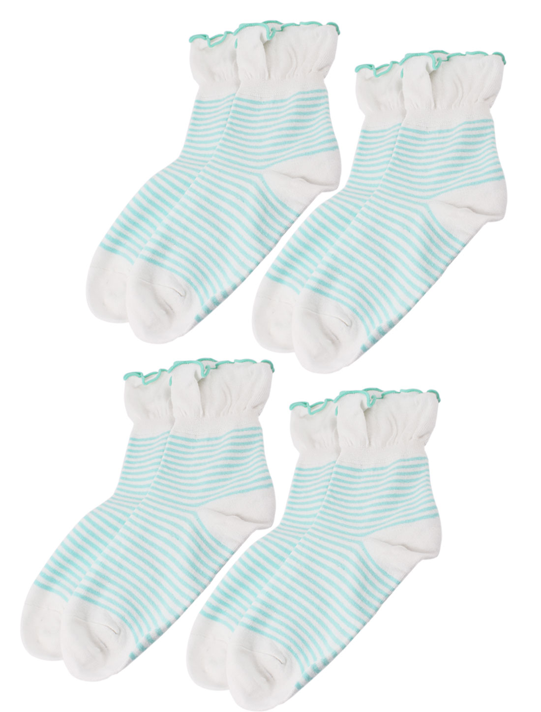 Woman Stripe Pattern Stretch Pleated Cuff Crew Ankle High Sport Casual Socks Green White 4 Pairs