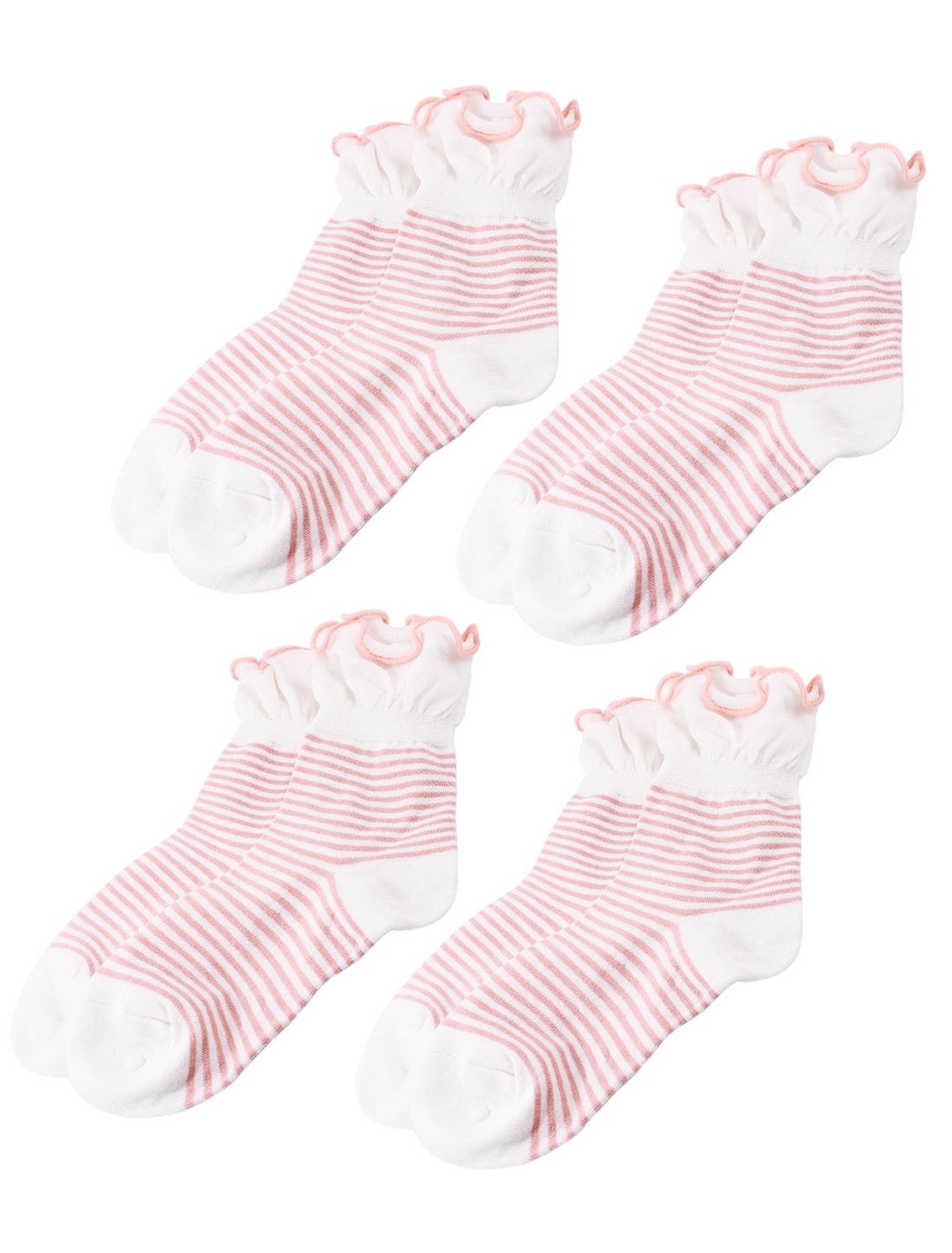 Woman Winter Fall Stretch Pleated Cuff Stripe Pattern Crew Ankle High Sport Casual Socks Red Black Pale Pink White 4 Pairs