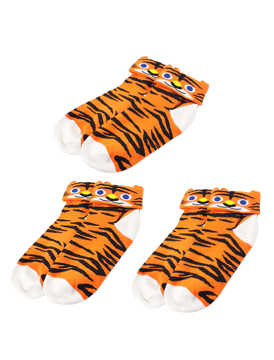 Woman Tiger Pattern Stretch Cuff Crew Ankle High Casual Socks Orange 3 Pairs