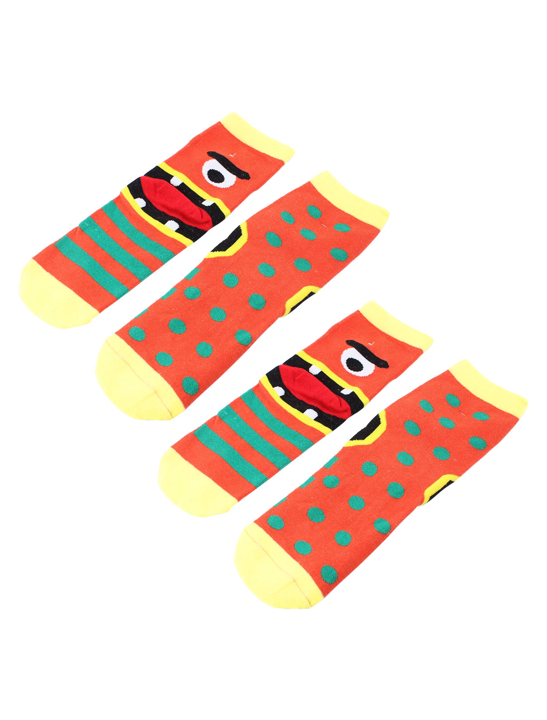 Woman Eye Mouth Dot Stripe Pattern Stretch Cuff Crew Ankle High Sport Casual Socks Orange 2 Pairs