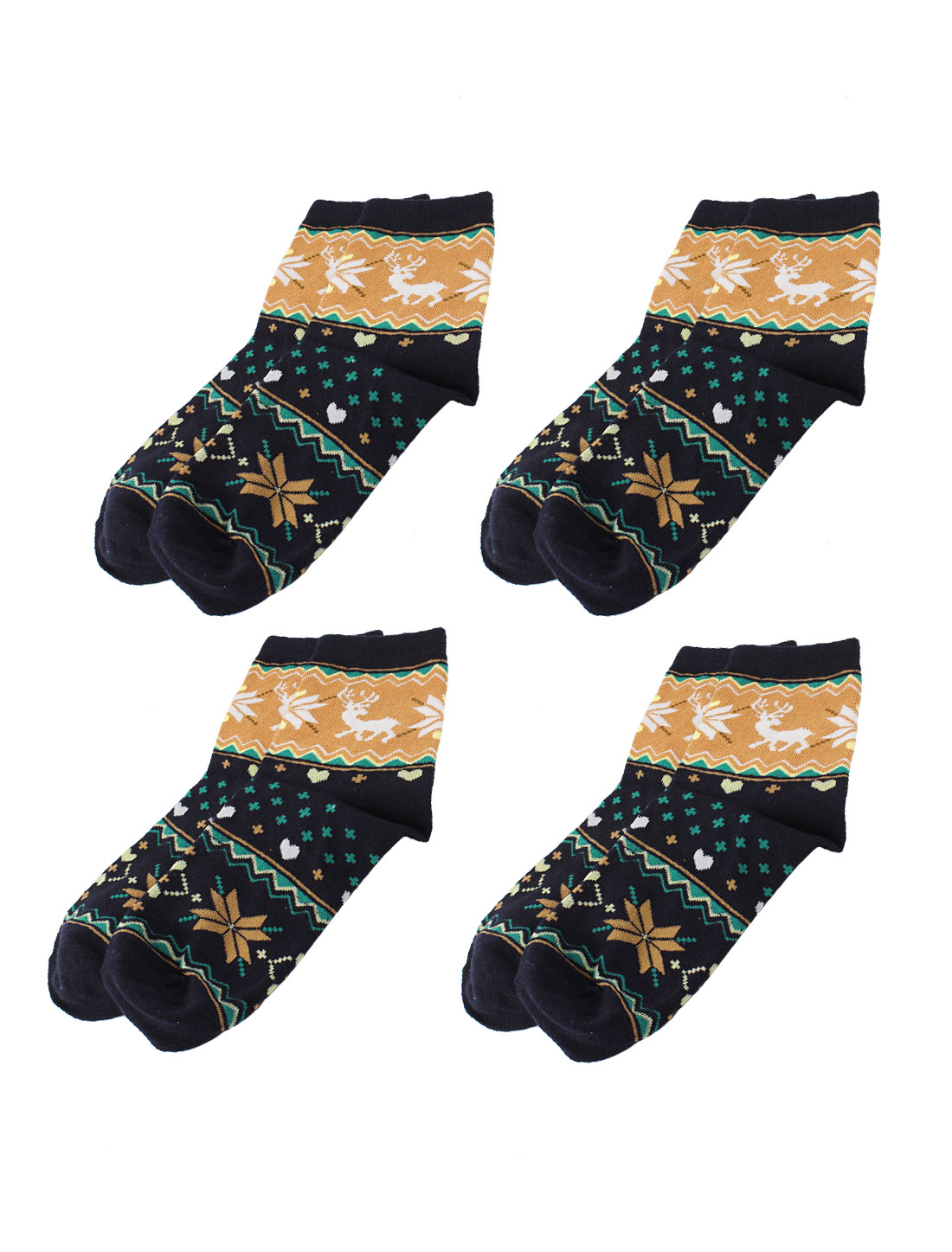 Lady Deer Heart Printed Elastic Ankle Casual Socks Black Brown 4 Pairs