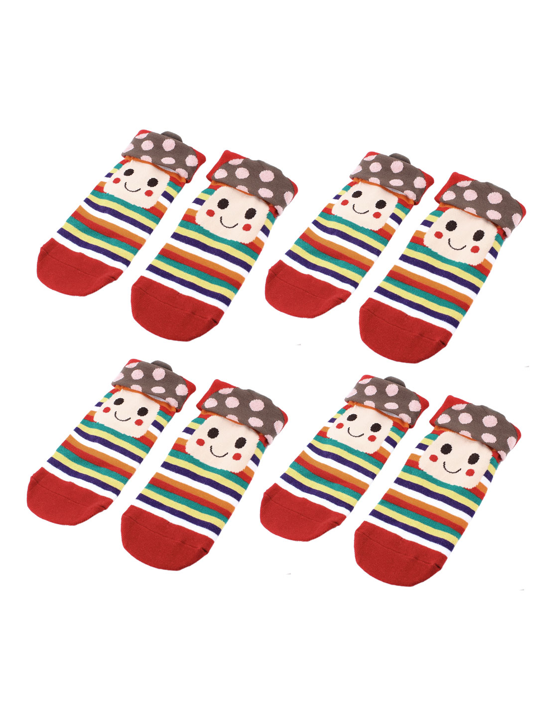 Woman Mushroom Head Stripe Pattern Stretch Cuff Crew Ankle High Sport Casual Socks Red 4 Pairs