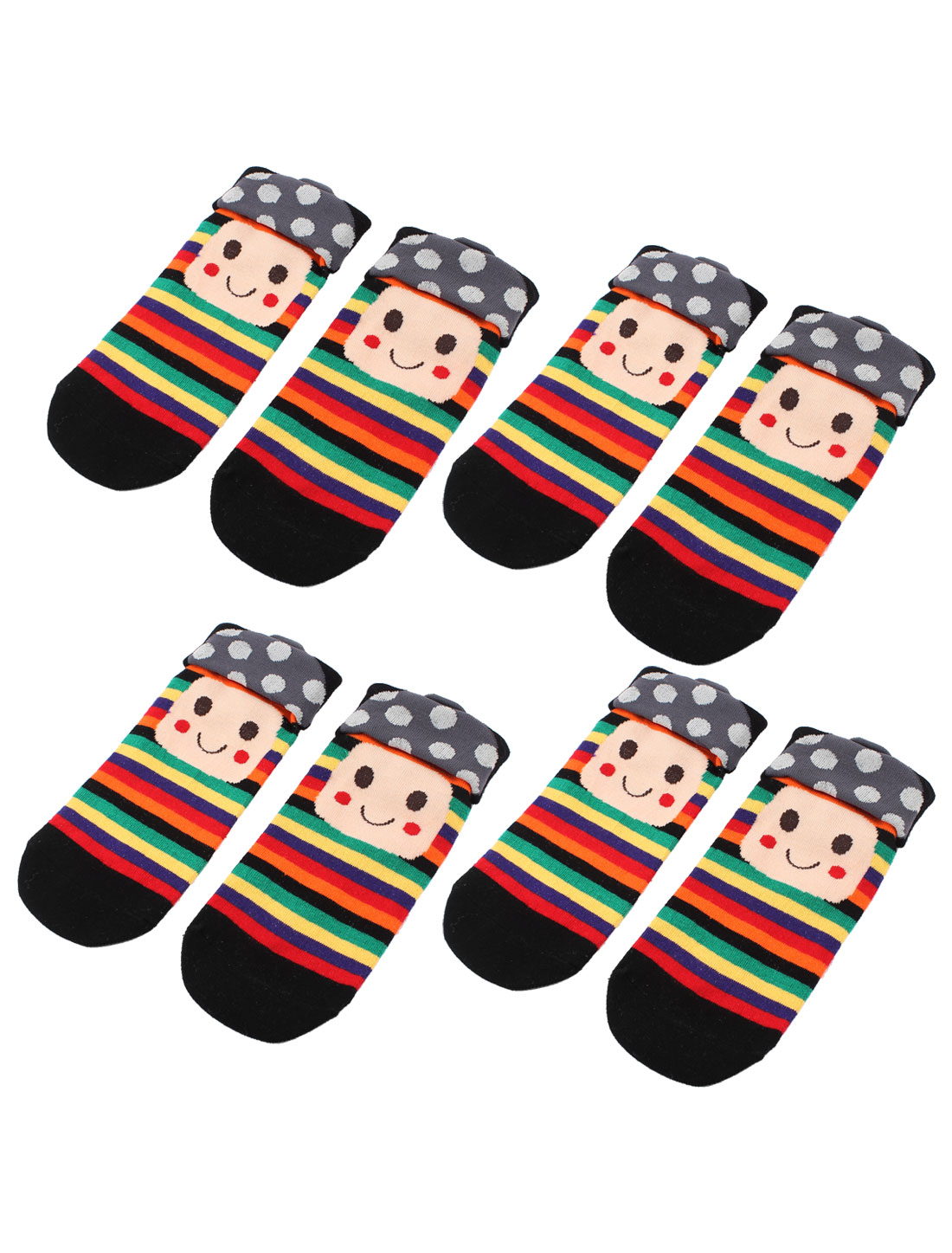 Woman Mushroom Head Stripe Pattern Stretch Cuff Crew Ankle High Sport Casual Socks Black 4 Pairs