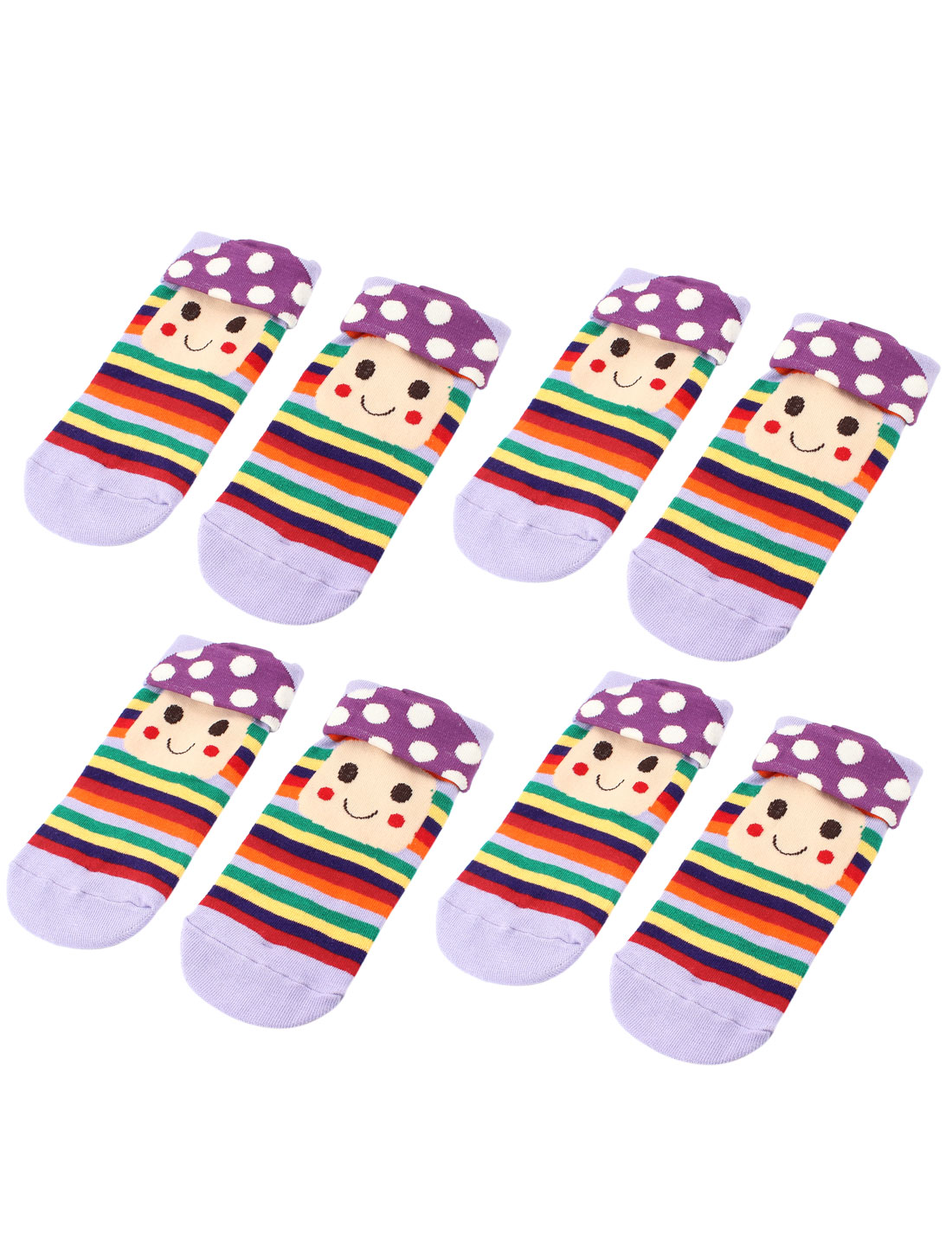 Women Mushroom Head Stripe Printed Ankle Casual Socks Purple 4 Pairs