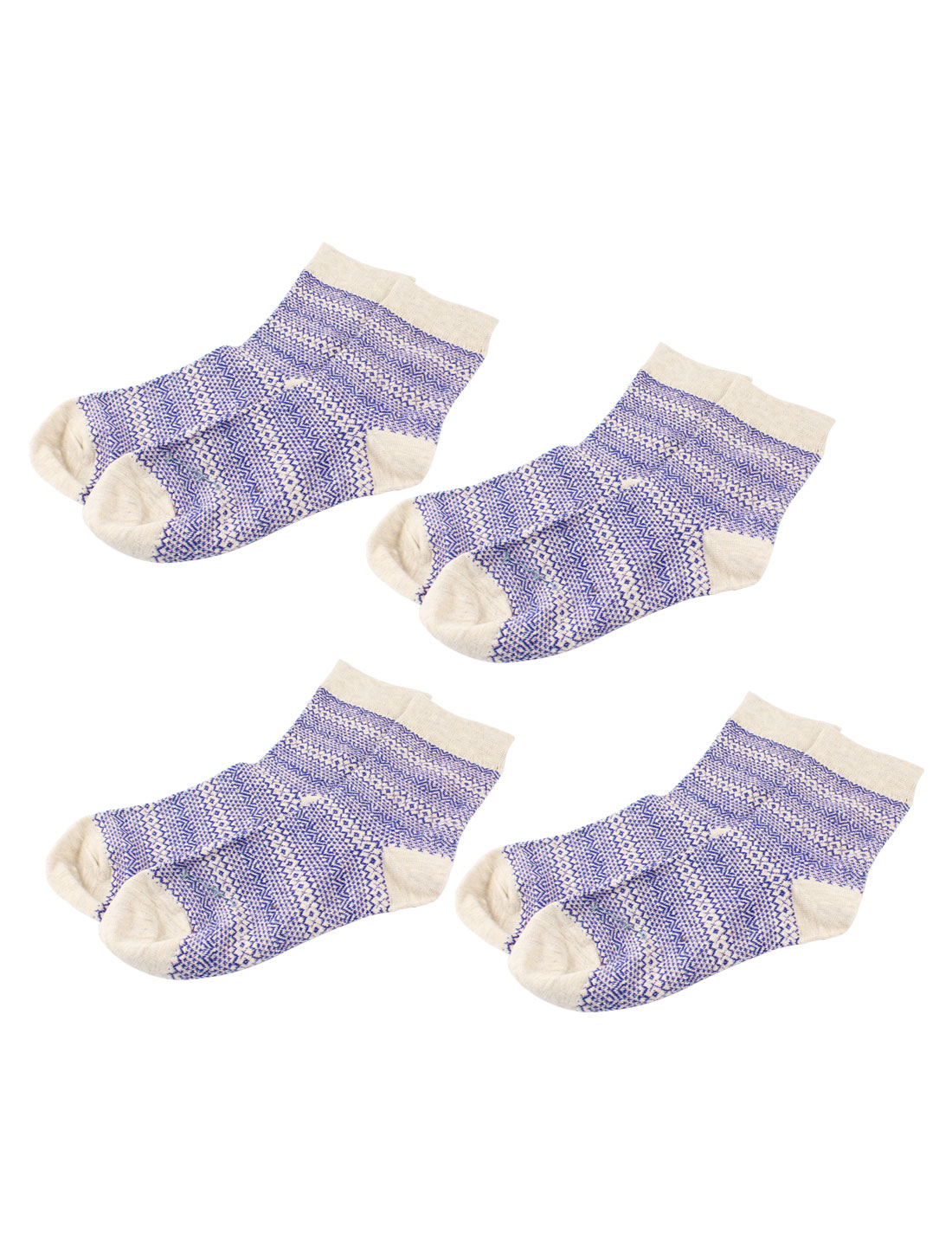 Women Folk Pattern Stretchy Ankle High Sport Casual Socks Beige Purple 4 Pairs