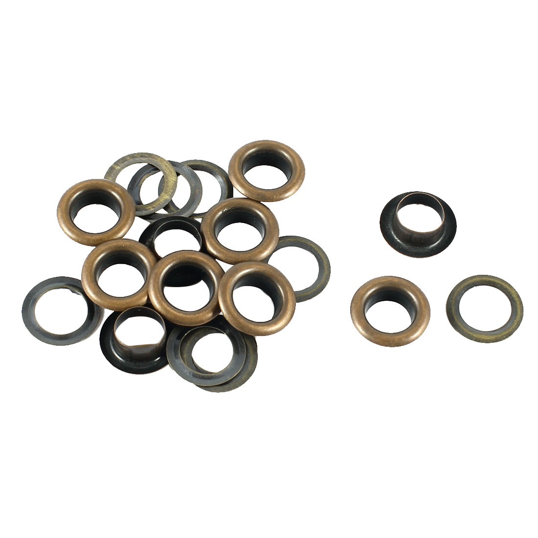 10Pcs 7mm Diameter Bronze Tone Brass Washer Grommet Eyelets for Clothes Self Backing Plier