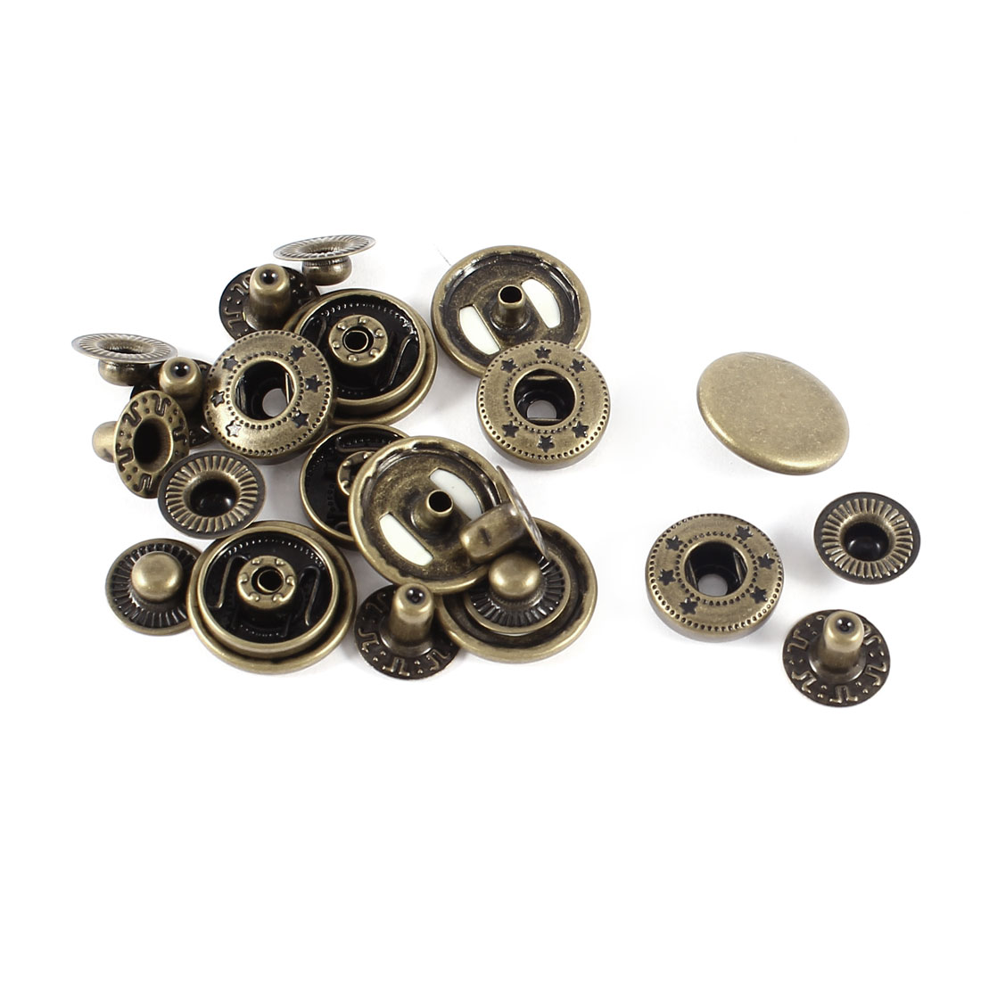 6 Sets Bronze Tone Metal Poppers Sewing Press Studs Buttons Snap Fastener 17mm