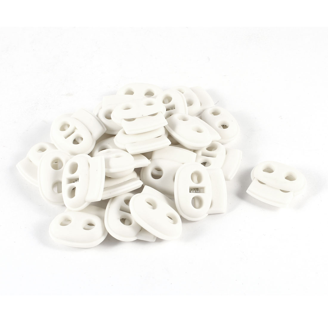 25pcs Clothing Hood Shoelace White Plastic 2 Holes 4.9mm Dia Spring Cord Lock Stopper Toggles Adjuster