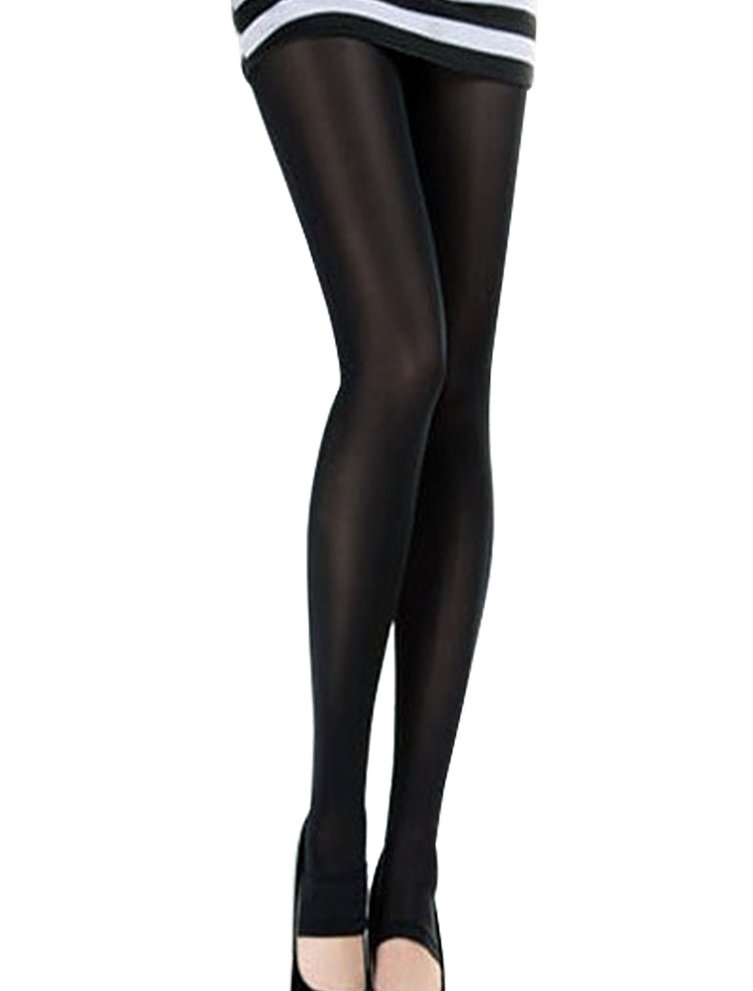 Woman Elastic Textured Skinny Skintight Pantyhose Leggings Black XS