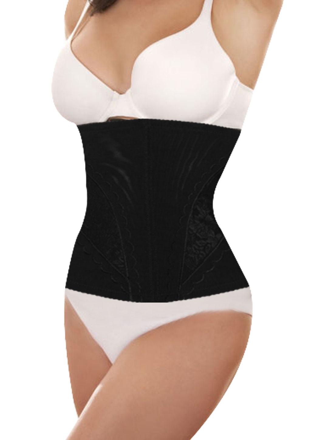 Black Florals Pattern Waist Cincher Tummy Control Underbust Girdle Corset L