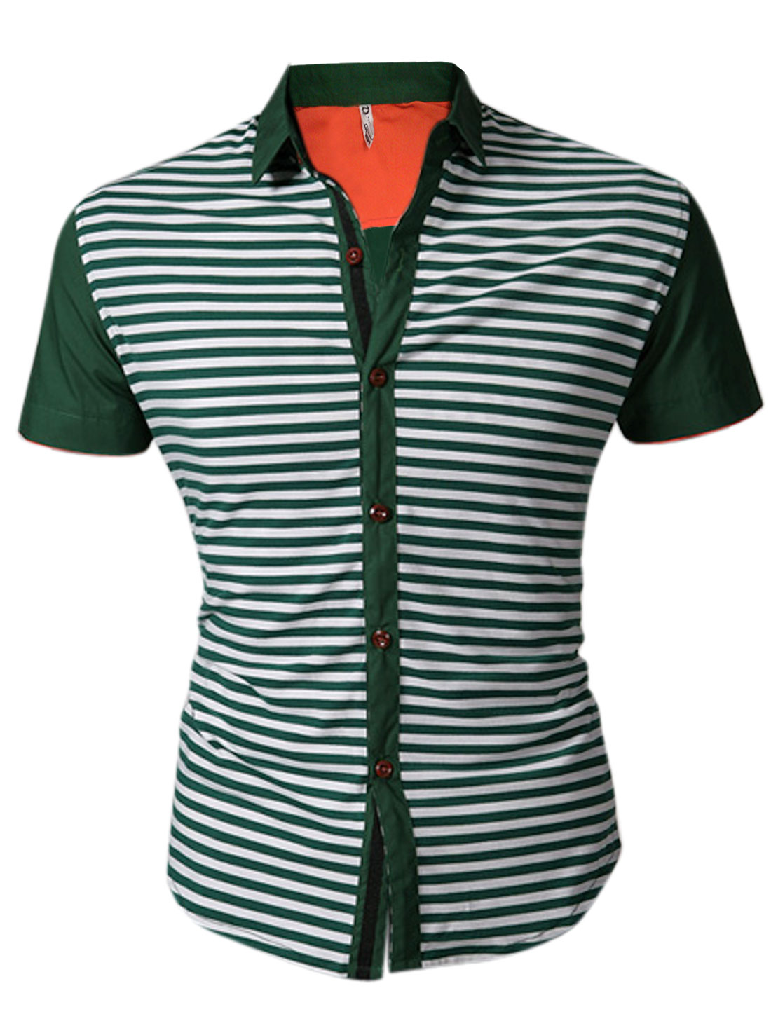 Man Stripes Panel Design Single Breasted Front Green White Shirt M