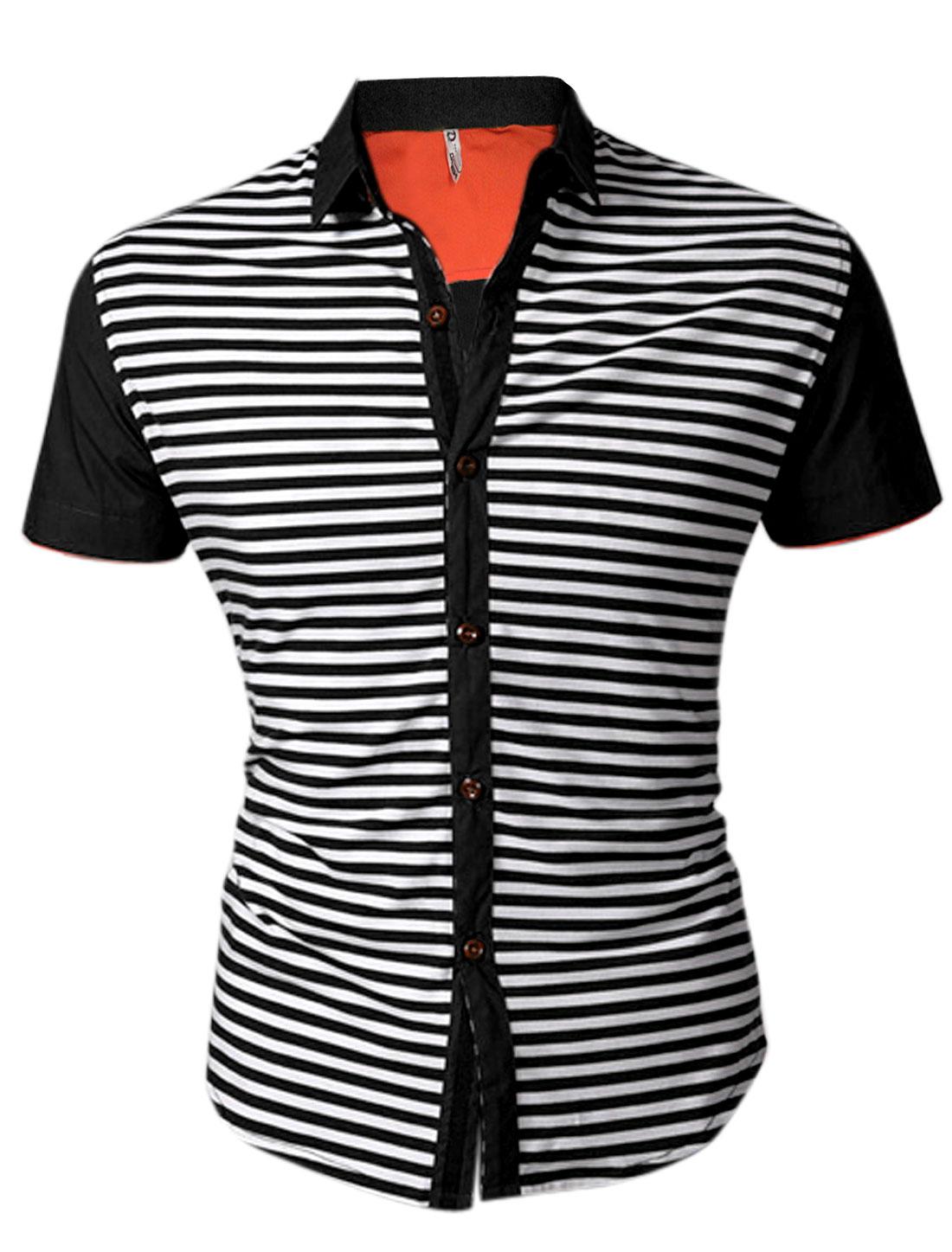 Men Stripes Short Sleeves Point Collar Black White Shirt M