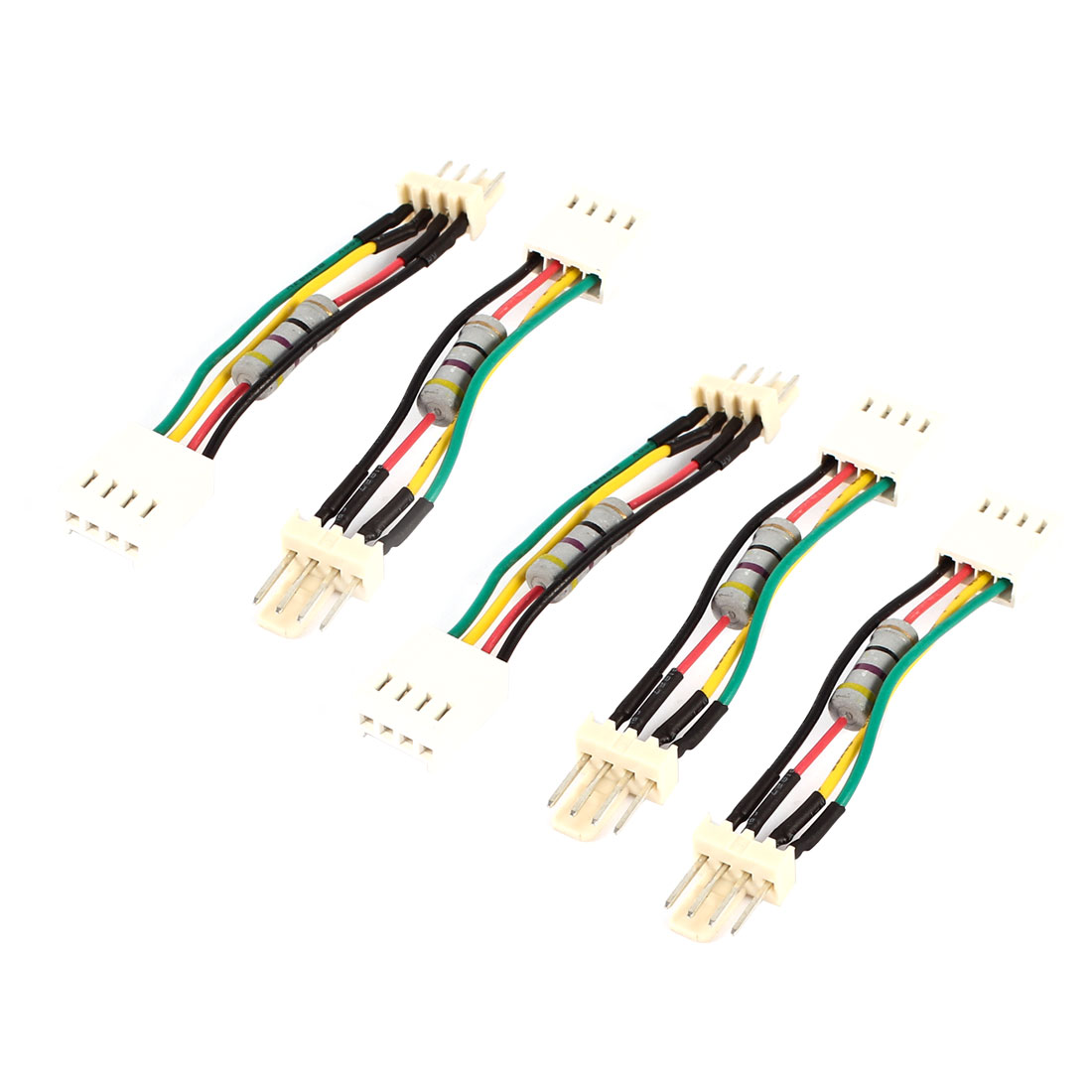 5 Pcs Desktop PC PWM Fan Speed Noise Reduce 4 Pins 4Wires Resistor Cable Connector