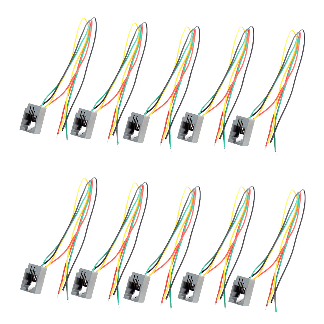 10 Pcs 616E 4P4C RJ9 Female Telephone Connector Adapter w 4 Wires Cable 8cm