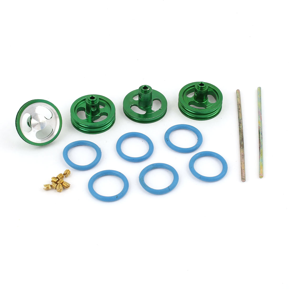 4Pcs 21mm x 3mm 3-Spoke Green Aluminum Wheel Rim Set for RC On-Road 4WD Racer Car