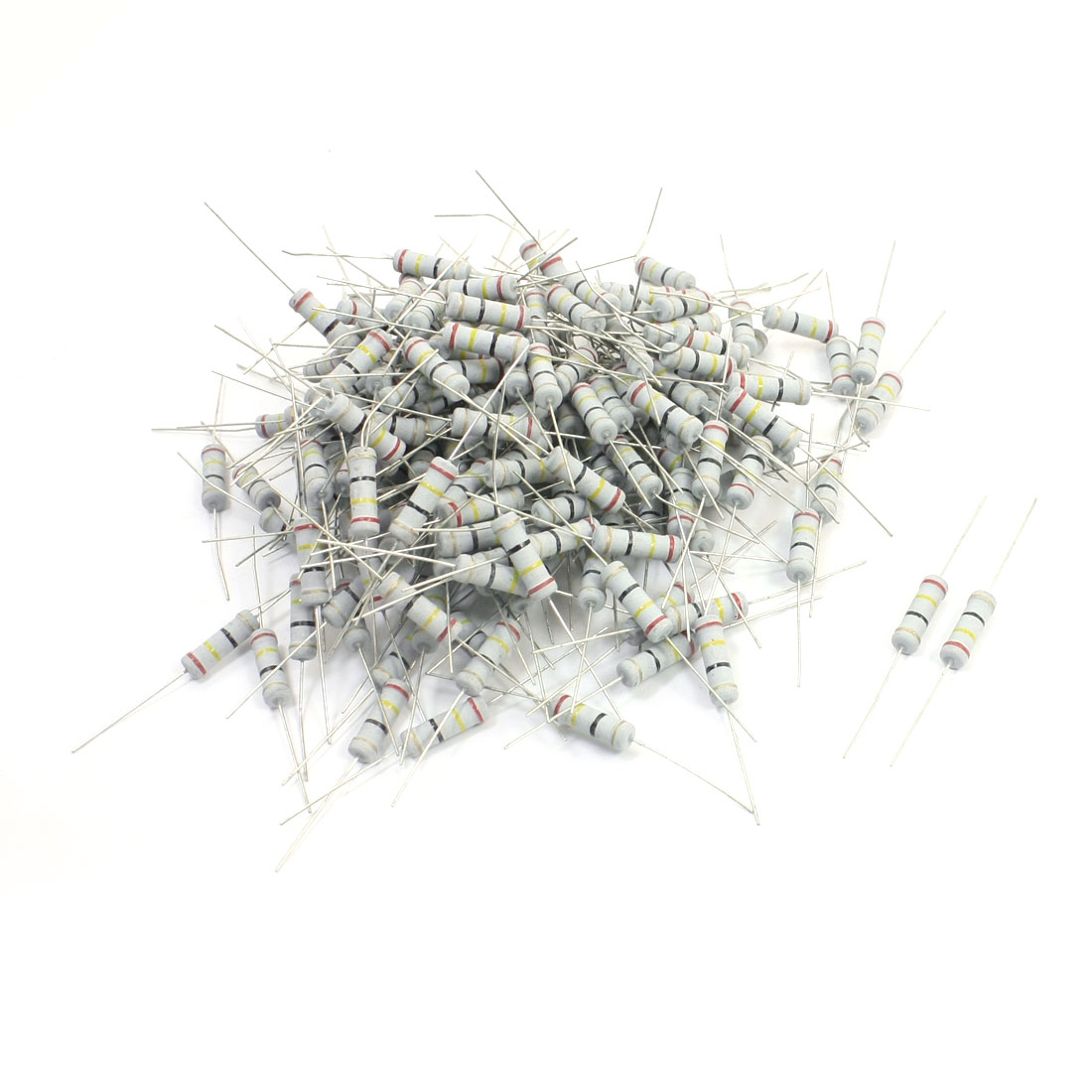 200Pcs 2 Watt 24 Ohm 5% Tolerance 4 Colored Ring Resistance Metal Oxide Film Resistor Axial Lead