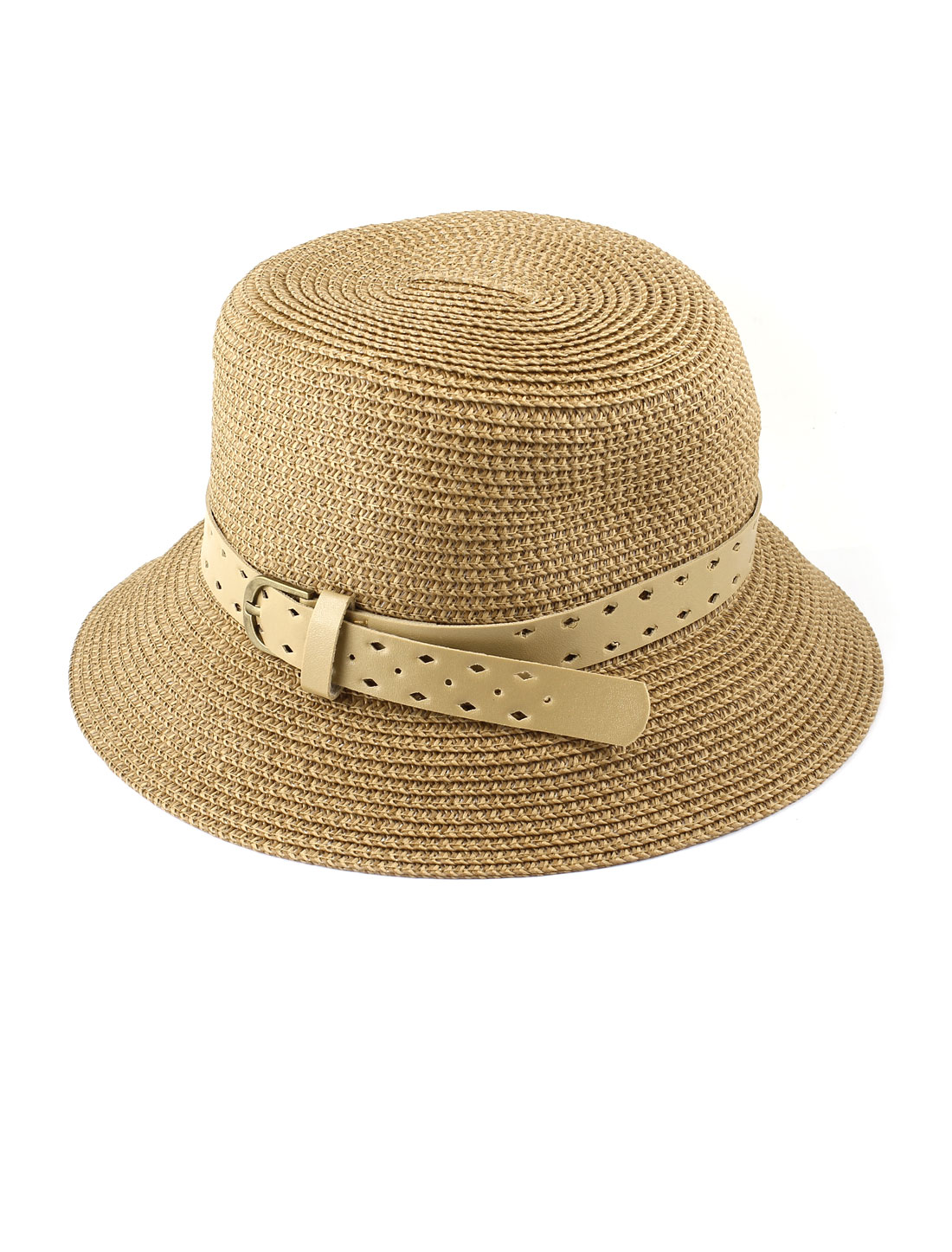 Lady Single Prong Buckle Adjustable Perforated Faux Feather Band Decor 10cm Depth Sun Visor Chapeau Cloche Bowler Hat Cap Khaki