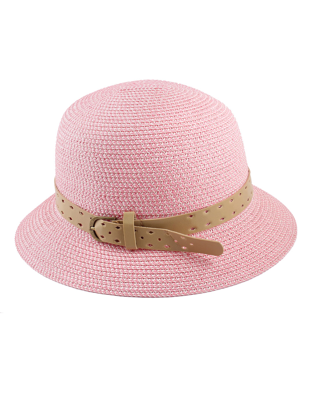 Lady Single Prong Buckle Adjustable Perforated Faux Feather Band Decor 10cm Depth Sun Visor Chapeau Cloche Bowler Hat Pink