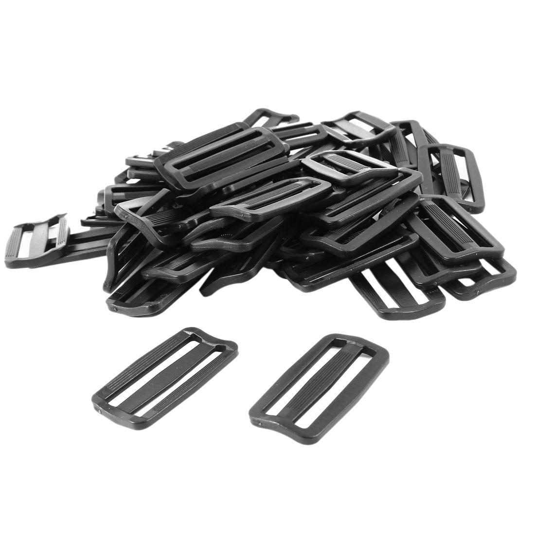 50pcs Webbing Baggage Black Plastic Slide Rectangle Buckle for 5cm Width Belt