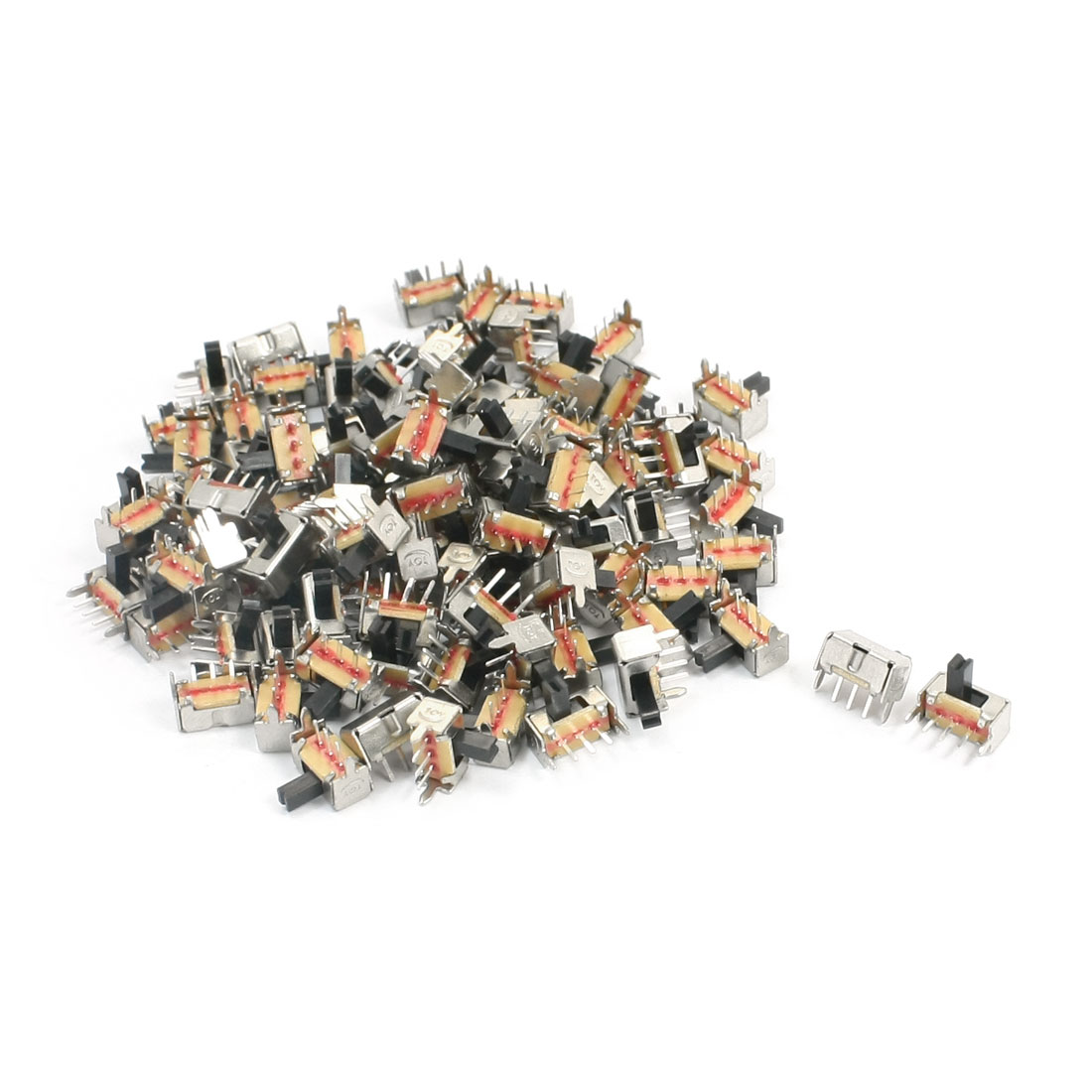 100PCS 3 Solder Lug Pin 2 Position SPDT Panel Mount Slide Switch DC50V 0.8A