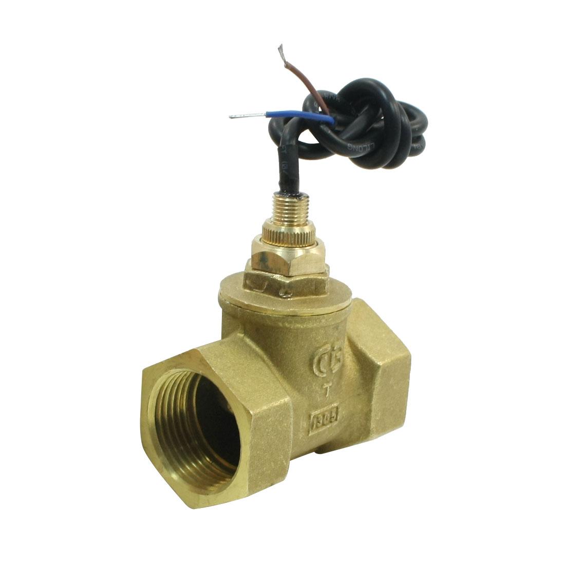 SEN-HS25 30mm/1PT Female Thread Gold Tone Brass Adjustable Piston Water Flow Switch Flowmeter 30L/Min 70W