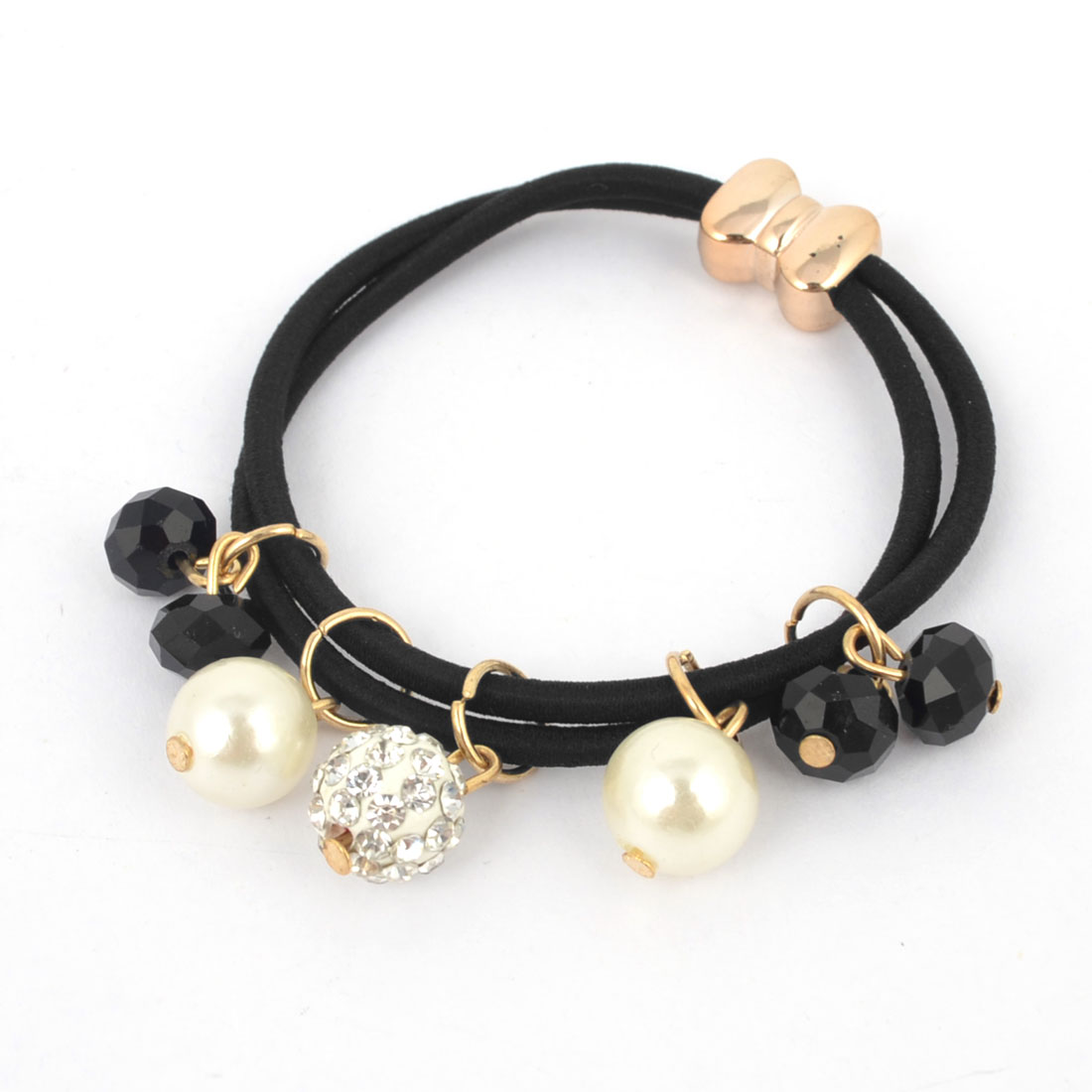 Lady Imitation Pearls Rhinestones Ornament Stretchy Elastic Rubber Hair Tie Ponytail Holder Black