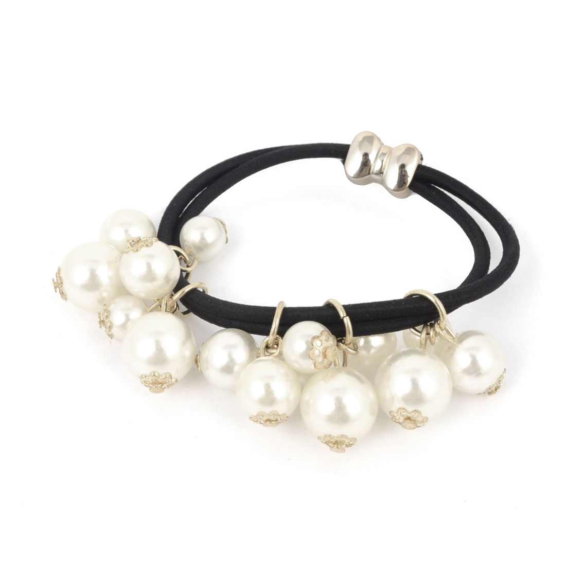 Imitation Pearls Accent Stretchy Elastic Rubber Hair Tie Ponytail Holder Black for Women