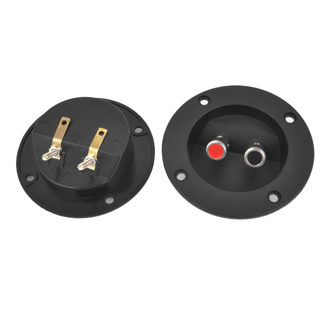 2 Pcs Black Round Spring Binding Post Double Terminal Board for Audio Speaker
