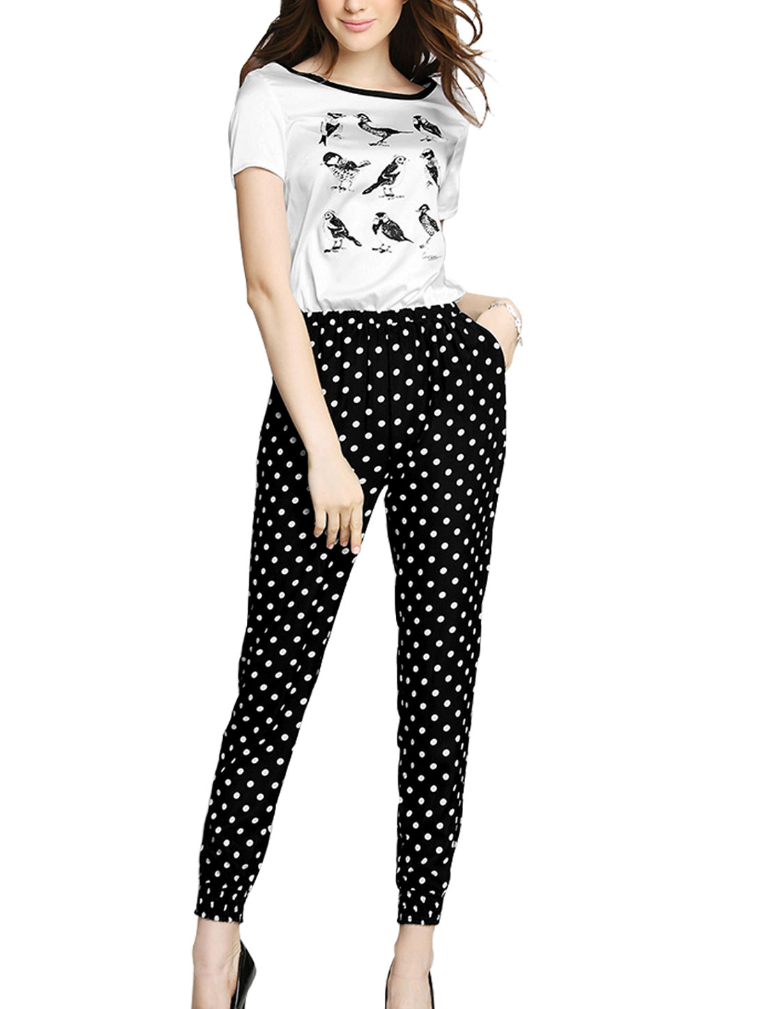 Lady Birds Pattern Elastic Waist Two Slant Pockets Chic Jumpsuit Black White S