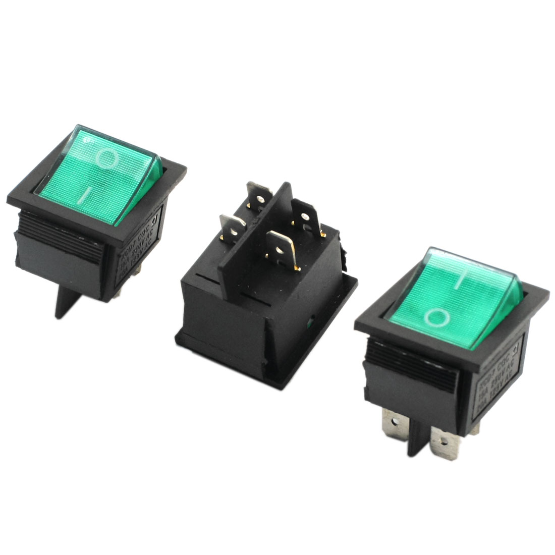 AC 110-220V Lamp Volt Green Button SPDT ON/OFF Boat Rocker Switch 3pcs