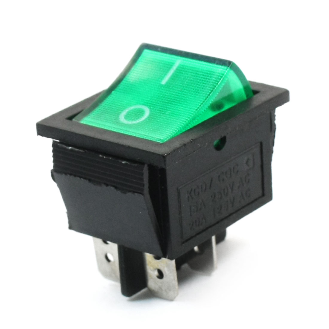 AC 110-220V Lamp Volt Green Button SPDT 2 Position Soldering Boat Rocker Switch